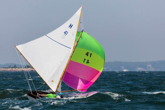 Loreliei, H41, on a blustery run, skippered by regatta winner Terry Cronburg, of the Buzzards